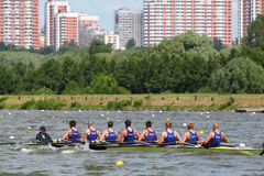 Russian men teams rowing participate Royalty Free Stock Photo