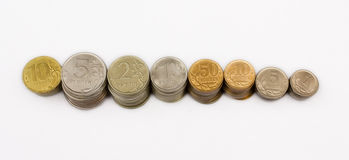 Russian metal coins. Columns of all main russian metal coins Stock Photography