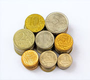 Russian metal coins. Columns of all main russian metal coins Royalty Free Stock Photography