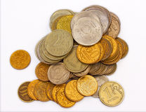 Russian metal coins. Columns of all main russian metal coins Royalty Free Stock Image