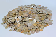 The Russian metallic currency on a light background. Lot of mone Stock Images