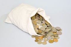 The Russian metallic currency is scattered from a bag. Bag of mo Royalty Free Stock Images