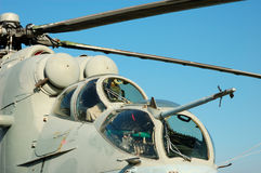 Russian Mi-24 Hind Helicopter. Cockpit of the Russian Mi-24 Hind Helicopter royalty free stock photos