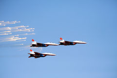 Russian Mig 29 M2 fighter plane releasing infrared countermeasur Stock Photography