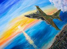 Russian military aircraft. Attack aircraft flying against the setting sun Royalty Free Stock Photography