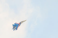 Russian military aircraft-fighter su-30 sm Flanker-C, in the sky gaining height Royalty Free Stock Image