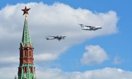 Russian military aircraft and helicopters in flight fighter bombers Royalty Free Stock Photography