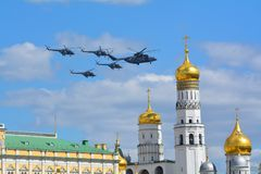 Russian military aircraft and helicopters in flight fighter bombers Stock Photos