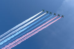 Russian military aircrafts fly in formation over Moscow during Victory Day parade, Russia Royalty Free Stock Image