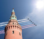 Russian military aircrafts fly in formation over Moscow during Victory Day parade, Russia Stock Photo