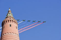 Russian military aircrafts fly in formation over Moscow during Victory Day parade, Russia Stock Image