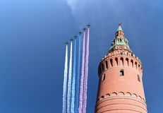 Russian military aircrafts fly in formation over Moscow during Victory Day parade, Russia Royalty Free Stock Photo