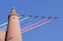 Russian military aircrafts fly in formation over Moscow during Victory Day parade, Russia Royalty Free Stock Photography