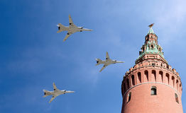 Russian military aircrafts fly in formation over Moscow during Victory Day parade, Russia Stock Photos