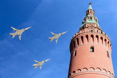 Russian military aircrafts fly in formation over Moscow during Victory Day parade, Russia. Russian military aircrafts fly in formation over Moscow Kremlin Stock Photo