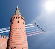 Russian military aircrafts fly in formation over Moscow during Victory Day parade, Russia Stock Images
