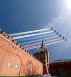 Russian military aircrafts fly in formation over Moscow during Victory Day parade, Russia. Russian military aircrafts fly in formation over Moscow Tower of Royalty Free Stock Images