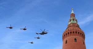 Russian military aircrafts fly in formation over Moscow during Victory Day parade, Russia. Victory Day (WWII) Royalty Free Stock Images
