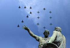 Russian military aircrafts fly in formation over Moscow during Victory Day parade, Russia. Victory Day (WWII) Royalty Free Stock Photos