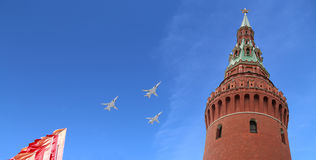 Russian military aircrafts fly in formation over Moscow during Victory Day parade, Russia. Victory Day (WWII) Royalty Free Stock Photography