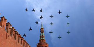 Russian military aircrafts fly in formation over Moscow during Victory Day parade, Russia. Victory Day (WWII). Russian military aircrafts fly in formation over Royalty Free Stock Images