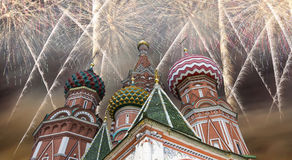 Russian military aircrafts fly in formation over MoscowSaint Basil cathedral during Victory Day parade, Russia.  royalty free stock photography