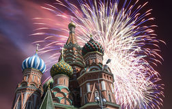 Russian military aircrafts fly in formation over MoscowSaint Basil cathedral during Victory Day parade, Russia.  Royalty Free Stock Photo