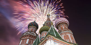 Russian military aircrafts fly in formation over MoscowSaint Basil cathedral during Victory Day parade, Russia Royalty Free Stock Photography