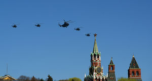 Russian military aircrafts fly in formation over Red Square Royalty Free Stock Photos