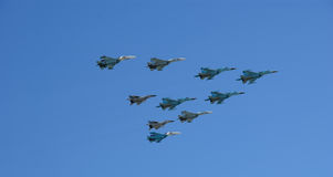 Russian military aircrafts fly in formation over Red Square Royalty Free Stock Photo