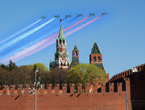 Russian military aircrafts fly in formation over Red Square Stock Images