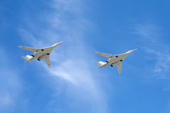 Russian military aircrafts Tu-160 in flight Stock Images