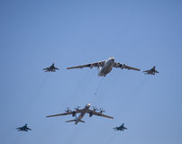 Russian military airplains,bombers. Russian military airplains, jet fighters,tankers,bombers,AWACS Royalty Free Stock Photography