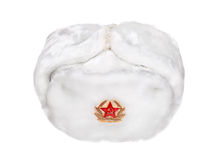 Russian military army hat Ushanka isolated on white Royalty Free Stock Image