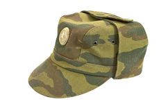 Russian Military Cap. On white background Stock Photos
