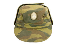 Russian Military Cap. On white background Royalty Free Stock Photography