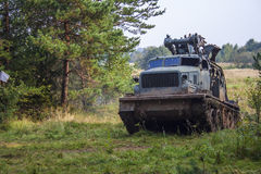 Russian military engineering crawler excavator in forest Royalty Free Stock Images