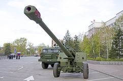 Russian military equipment close-up. In the city. Peace time. Artillery gun Stock Photo