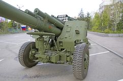 Russian military equipment close-up. In the city. Peace time. Artillery gun stock photography