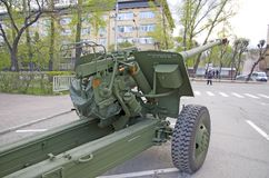 Russian military equipment close-up. In the city. Peace time. Artillery gun Royalty Free Stock Photo