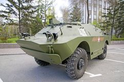 Russian military equipment close-up. In the city. Peaceful time. Royalty Free Stock Photo