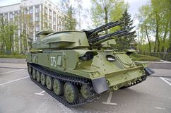 Russian military equipment close-up. In the city. Peaceful time. Anti-aircraft system Stock Photos