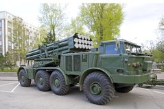 Russian military equipment close-up. In the city. Peaceful time. The system of volley fire `Hurricane` Stock Image