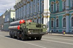 Russian military equipment goes to of the Victory parade stock photo