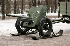 Russian military green gun on runners that facilitate transportation. Royalty Free Stock Images