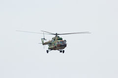Russian military helicopter MI-8 make maneuvers Stock Photography
