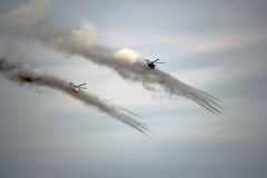 Russian military helicopters attack the target Royalty Free Stock Photo