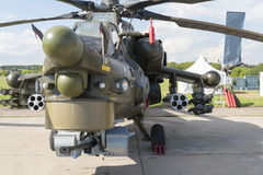 Russian military helicopters at the international exhibition. Russian military helicopters at the international exhibition in Zhukovsky royalty free stock image