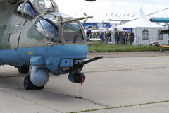 Russian military helicopters at the international exhibition. Russian military helicopters at the international exhibition in Zhukovsky stock photography