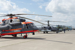 Russian military helicopters at the international exhibition. Russian military helicopters at the international exhibition in Zhukovsky Royalty Free Stock Photos